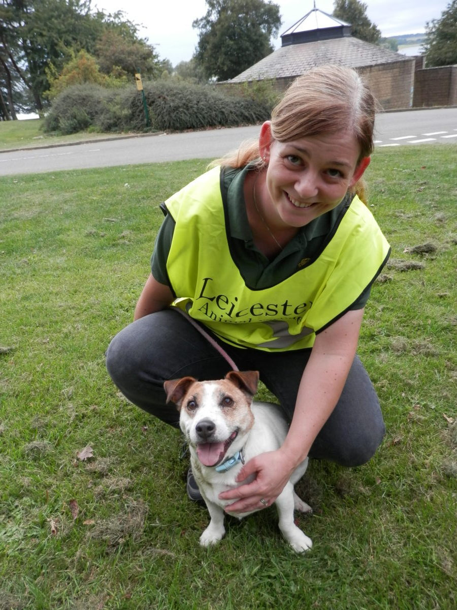 Staff member Dawn with Bozo who is still waiting for a home